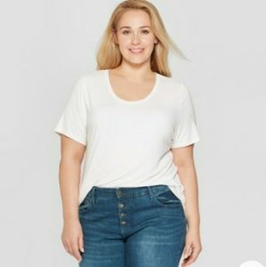 Ava & Viv white relaxed fit shirt top plus 3X